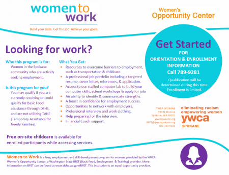 YWCA WomenToWork BFET Employment Program Spokane