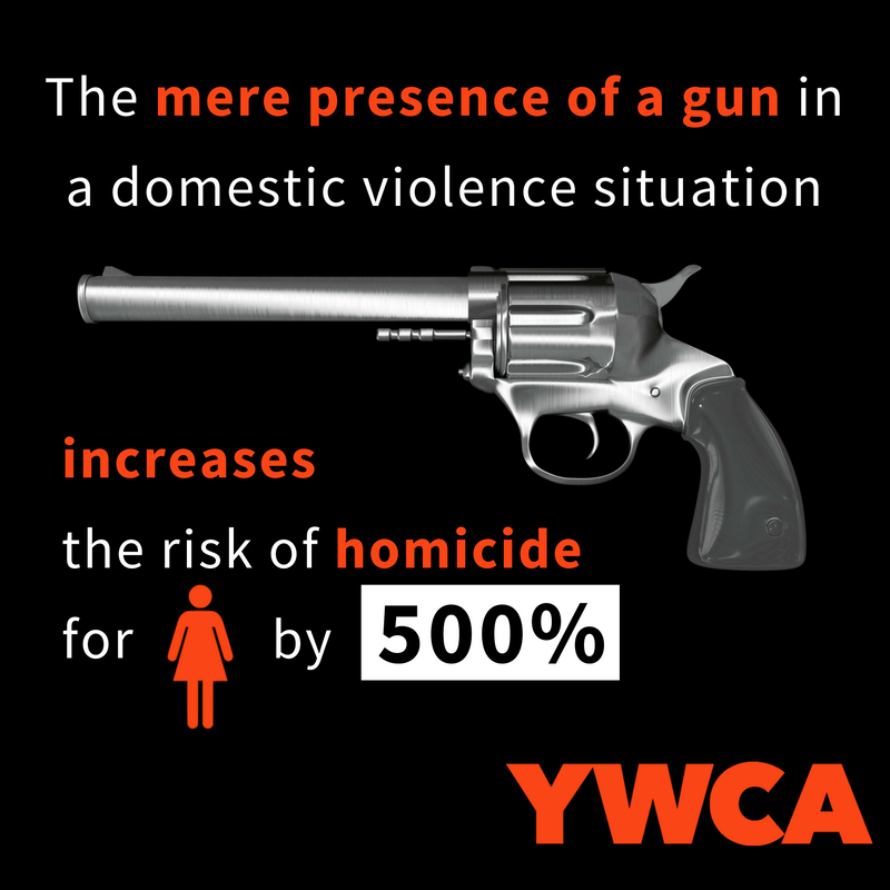 "Text reads: ""The mere presence of a gun in a domestic violence situation increases the risk of homicide for women by 500%"""